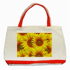 Sunflowers Background Wallpaper Pattern Classic Tote Bag (red)