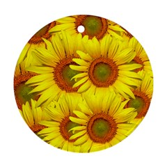Sunflowers Background Wallpaper Pattern Round Ornament (Two Sides)