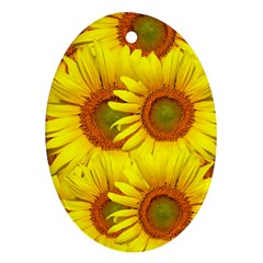 Sunflowers Background Wallpaper Pattern Oval Ornament (Two Sides)