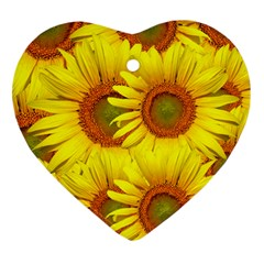 Sunflowers Background Wallpaper Pattern Heart Ornament (two Sides)