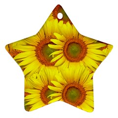 Sunflowers Background Wallpaper Pattern Star Ornament (Two Sides)