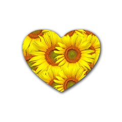 Sunflowers Background Wallpaper Pattern Rubber Coaster (heart)
