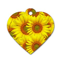 Sunflowers Background Wallpaper Pattern Dog Tag Heart (One Side)