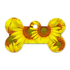 Sunflowers Background Wallpaper Pattern Dog Tag Bone (One Side)