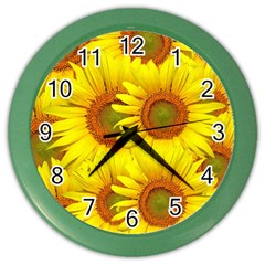 Sunflowers Background Wallpaper Pattern Color Wall Clocks