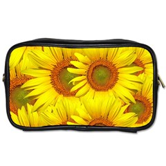 Sunflowers Background Wallpaper Pattern Toiletries Bags 2 Side