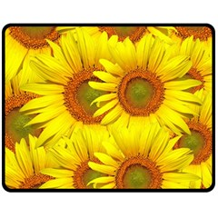 Sunflowers Background Wallpaper Pattern Fleece Blanket (medium)