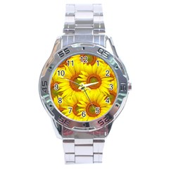 Sunflowers Background Wallpaper Pattern Stainless Steel Analogue Watch