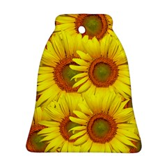 Sunflowers Background Wallpaper Pattern Bell Ornament (Two Sides)
