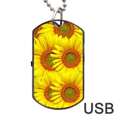 Sunflowers Background Wallpaper Pattern Dog Tag USB Flash (One Side)