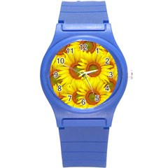 Sunflowers Background Wallpaper Pattern Round Plastic Sport Watch (S)