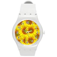 Sunflowers Background Wallpaper Pattern Round Plastic Sport Watch (m)