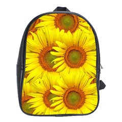 Sunflowers Background Wallpaper Pattern School Bags (XL)