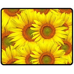 Sunflowers Background Wallpaper Pattern Double Sided Fleece Blanket (medium)