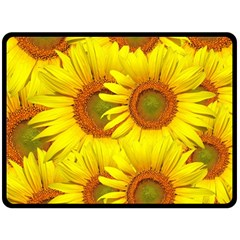 Sunflowers Background Wallpaper Pattern Double Sided Fleece Blanket (large)