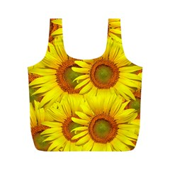 Sunflowers Background Wallpaper Pattern Full Print Recycle Bags (m)