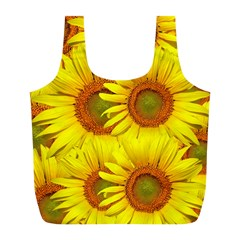 Sunflowers Background Wallpaper Pattern Full Print Recycle Bags (L)