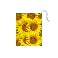 Sunflowers Background Wallpaper Pattern Drawstring Pouches (Small)
