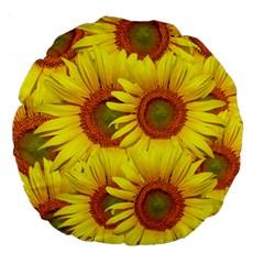 Sunflowers Background Wallpaper Pattern Large 18  Premium Flano Round Cushions