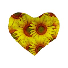 Sunflowers Background Wallpaper Pattern Standard 16  Premium Flano Heart Shape Cushions