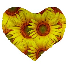 Sunflowers Background Wallpaper Pattern Large 19  Premium Flano Heart Shape Cushions