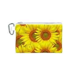 Sunflowers Background Wallpaper Pattern Canvas Cosmetic Bag (S)