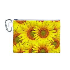 Sunflowers Background Wallpaper Pattern Canvas Cosmetic Bag (M)