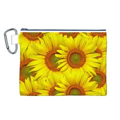 Sunflowers Background Wallpaper Pattern Canvas Cosmetic Bag (L)
