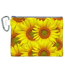 Sunflowers Background Wallpaper Pattern Canvas Cosmetic Bag (xl)