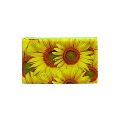 Sunflowers Background Wallpaper Pattern Cosmetic Bag (xs)