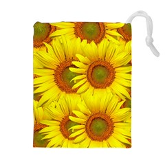 Sunflowers Background Wallpaper Pattern Drawstring Pouches (extra Large)