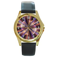 Background Image With Wheel Of Fortune Round Gold Metal Watch