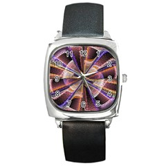 Background Image With Wheel Of Fortune Square Metal Watch