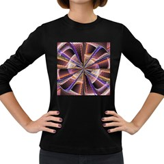 Background Image With Wheel Of Fortune Women s Long Sleeve Dark T Shirts