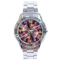 Background Image With Wheel Of Fortune Stainless Steel Analogue Watch