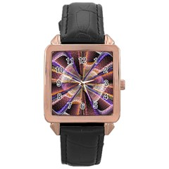 Background Image With Wheel Of Fortune Rose Gold Leather Watch