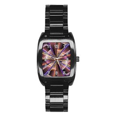 Background Image With Wheel Of Fortune Stainless Steel Barrel Watch