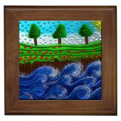 Beaded Landscape Textured Abstract Landscape With Sea Waves In The Foreground And Trees In The Background Framed Tiles