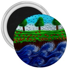Beaded Landscape Textured Abstract Landscape With Sea Waves In The Foreground And Trees In The Background 3  Magnets