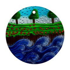Beaded Landscape Textured Abstract Landscape With Sea Waves In The Foreground And Trees In The Background Ornament (round)