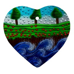 Beaded Landscape Textured Abstract Landscape With Sea Waves In The Foreground And Trees In The Background Ornament (Heart)