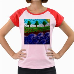 Beaded Landscape Textured Abstract Landscape With Sea Waves In The Foreground And Trees In The Background Women s Cap Sleeve T Shirt