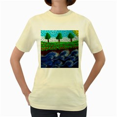 Beaded Landscape Textured Abstract Landscape With Sea Waves In The Foreground And Trees In The Background Women s Yellow T-Shirt