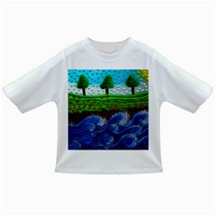 Beaded Landscape Textured Abstract Landscape With Sea Waves In The Foreground And Trees In The Background Infant/Toddler T-Shirts