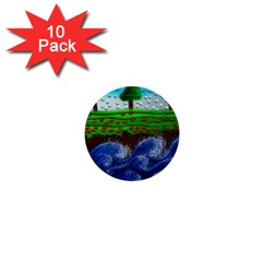 Beaded Landscape Textured Abstract Landscape With Sea Waves In The Foreground And Trees In The Background 1  Mini Buttons (10 Pack)