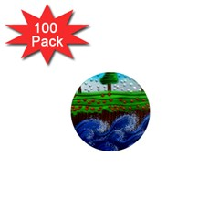 Beaded Landscape Textured Abstract Landscape With Sea Waves In The Foreground And Trees In The Background 1  Mini Magnets (100 Pack)