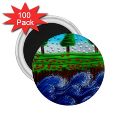 Beaded Landscape Textured Abstract Landscape With Sea Waves In The Foreground And Trees In The Background 2 25  Magnets (100 Pack)
