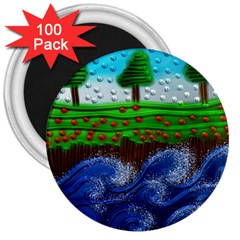 Beaded Landscape Textured Abstract Landscape With Sea Waves In The Foreground And Trees In The Background 3  Magnets (100 pack)