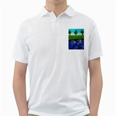 Beaded Landscape Textured Abstract Landscape With Sea Waves In The Foreground And Trees In The Background Golf Shirts