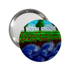 Beaded Landscape Textured Abstract Landscape With Sea Waves In The Foreground And Trees In The Background 2.25  Handbag Mirrors